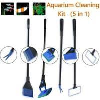 5x Aquarium Cleaning Tools Fish Tank Gravel Rake Fish Net Brush Tool J3O4