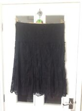 Ladies M&S size12 black lace tiered skirt.