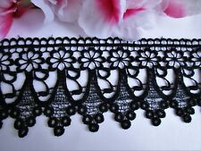Black color Venise embroidery lace trim  - price for 1 yard