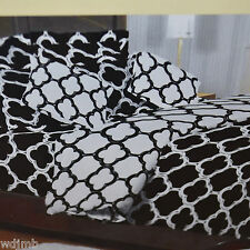 BLACK WHITE MODERN GEOMETRIC QUATREFOIL DAMASK King DUVET 3pc SET 300tc