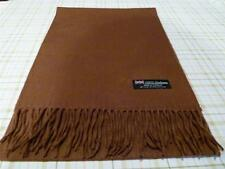 New 100% Cashmere Solid Brown Scarf UNISEX WARM Scotland Wool Thick 2PLY