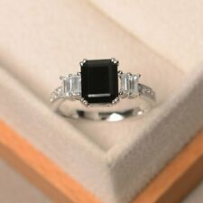 3Ct Emerald Cut Black Diamond Solitaire  Engagement Ring 14K White Gold Finish