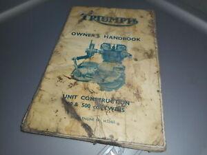 Triumph Unit Construction Owners Manual Twins 500cc Single And Twin Carburetor