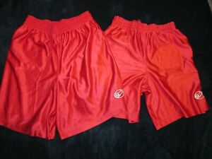 RUSSELL ATHLETIC SATIN RED BASKETBALL SHORTS, LOT OF 2, LG & XL, # 567