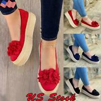 Women Wedge Platform Espadrilles Flower Pumps Slip On Comfy Loafers Shoes Size