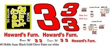 #3 Bobby Isaac Black Gold Chevy 1975 1/24th - 1/25th Scale Decals