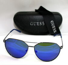 Authentic GUESS GF0161-08X-61 Men's Aviator Sunglasses Blue Lens SILVER TONE NEW