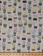 Cactus Cacti Plants Potted Flowers Floral Tan Cotton Fabric Print BTY D681.07
