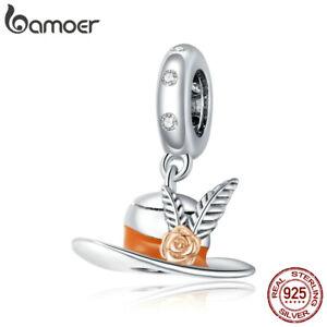 Women Top Hat European S925 Sterling Silver Pavé CZ Enamel Charms Fit Bracelet