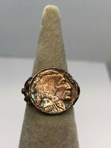 1937 Buffalo Nickel Coin RING Sz 7.25 Copper over Sterling 9 grams