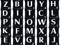 BLACK ALPHABETS LETTERS CUSHIONS COVER SCRABBLE NUMBERS A - Z HESSIAN QUALITY