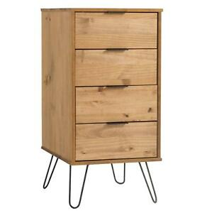 Industrial Wood Chest of 4 Drawers Narrow Cabinet Organiser Bedroom Storage Unit