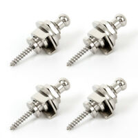 Guitar Strap Locks Buttons Schaller Style Locking Systerm 4 Pcs Silver