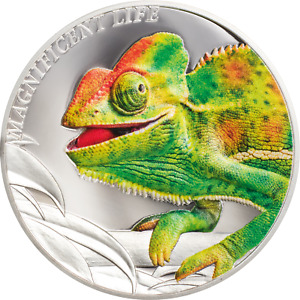 2020 Cook Islands $5 Magnificent Life Chameleon 1 oz 999 Silver Coin - 999 Made