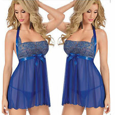 Women's Sexy Lingerie Lace Dress Blue Underwear Sleepwear+G-string Nightwear Set