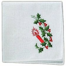 "Women's Handkerchief White Cotton Red Green Christmas Candle Holly 12"" (2 Pack)"