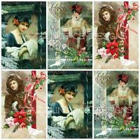 12 VINTAGE YE OLDE Christmas Embellishments, Card Making Toppers, Card Toppers