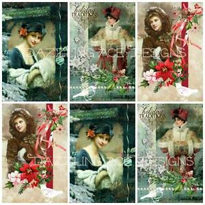 YE OLDE VINTAGE Christmas Embellishments, Card Making Toppers, Card Toppers (12)