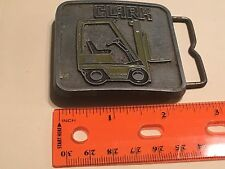 Square Clark Fork Lift Belt Buckle, Pewter or Brass, 1981 Sales Guides, WI