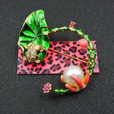 Frog Lotus Betsey Johnson Brooch Pin Woman's Green Crystal Enamel Ornate Pearl