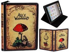 Para Apple iPad 2 3 4 Alicia en el país de las Maravillas Clásico Estilo Libro Funda Antiguo