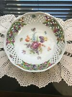 Antique, Collectable Dresden Porcelain Reticulated Hand Painted Floral Plate
