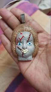 Chunky Doll Face Men's Hip-Hop Pendant With Bronze & White CZ In 925 Real Silver