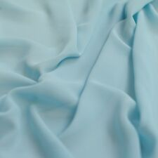 Baby Pastel Blue Chiffon Plain Woven Polyester Sheer Dress Fabric - per Metre
