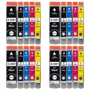20 Ink Cartridges XL (Set) for Epson Expression Premium XP-530, XP-635, XP-7100