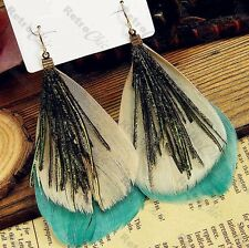 BIG teal aqua BOHO FEATHER EARRINGS peacock bird BLUE-GREEN wild feathers