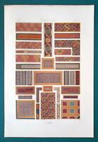 CELTIC ORNAMENTS Middle Ages Gospels - A. RACINET Color Lithograph Print