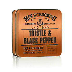 Scottish Fine Soaps Thistle & Black Pepper Face & Beard Soap in a Tin 100g