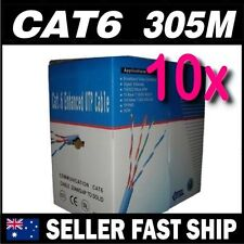 10 x Blue CAT 6 305M UTP 1000 feet Ethernet LAN Network RJ45 Cable Roll Box