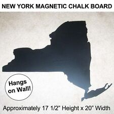 NEW YORK STATE Die-Cut Map Shaped MAGNETIC METAL CHALK BOARD Wall Display NY