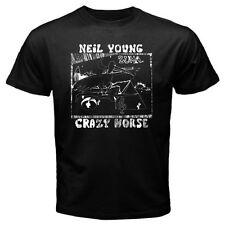 New Neil Young Crazy Horse Zuma Logo Men's Black T-Shirt Size S to 3XL
