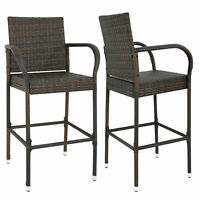 2PCS Rattan Wicker Bar Stool Furniture Chair Outdoor Backyard Patio Home Garden