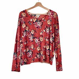 Garnet Hill Size S Pullover Sweater Burnt Orange Floral 100% Merino Wool Crew
