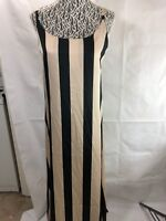 Chepe Italy NWT Women Striped Slip Maxi Dress Beige Black Size M Medium 80