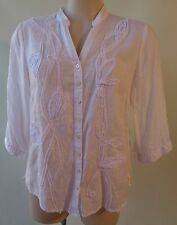 Regatta size 12 linen white top shirt 3/4 sleeve