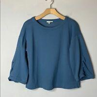 Eileen Fisher Blue Organic Cotton Tencel Knit Top Crewneck Women Petite Small