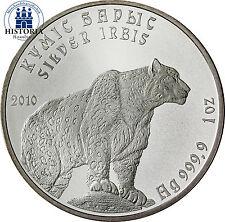Kasachstan 1 Tenge Silbermünze 2010 stgl. Schneeleopard Münze in Münzkapsel