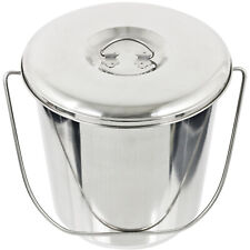 More details for 12l metal bucket + lid stainless steel fire sand garage spill pail handle