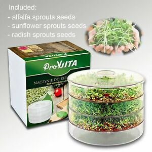 3 TIER SPROUTER GERMINATOR + SPROUTING SEEDS ORGANIC HEALTHY