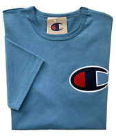 CHAMPION Life Mens Large Chest C Patch Logo Applique Heritage Tee Blue GT19 NWT