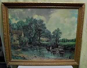 """VTG BEAUTIFUL English Farm Cottage Framed Oil on Canvas Print Painting 32""""x26"""""""