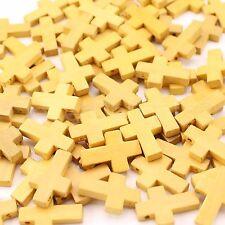 "100 Pack - 7/8"" Wood Cross Pendants - Beading Custom Jewelry 22mm Wooden Crosses"