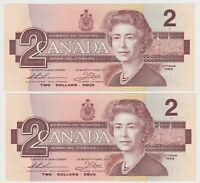 Canada $2 (1986) BC-55b - 2 Consecutive aUNC/UNC Notes ✹BUR9318950-1✹ **QC L1**