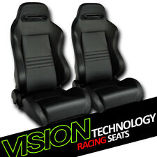 T-R Type Blk Stitch PVC Leather Reclinable Racing Bucket Seats w/Sliders L+R V12