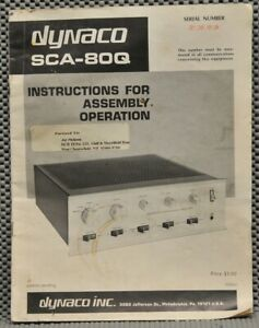 Dynaco SCA-80Q instructions for Assembly Operation original manual