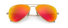 New Ray Ban Aviator RB 3025 112/4D Gold Metal w/Polarized Orange Flash size 55mm